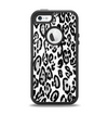 The Black and White Snow Leopard Pattern Apple iPhone 5-5s Otterbox Defender Case Skin Set
