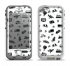 The Black and White Travel Collage Pattern Apple iPhone 5-5s LifeProof Nuud Case Skin Set