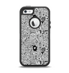 The Black and White Valentine Sketch Pattern Apple iPhone 5-5s Otterbox Defender Case Skin Set