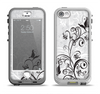 The Black and White Vector Butterfly Floral Apple iPhone 5-5s LifeProof Nuud Case Skin Set