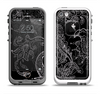 The Black with Thin White Paisley Pattern Apple iPhone 5-5s LifeProof Fre Case Skin Set