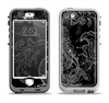 The Black with Thin White Paisley Pattern Apple iPhone 5-5s LifeProof Nuud Case Skin Set