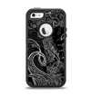 The Black with Thin White Paisley Pattern Apple iPhone 5-5s Otterbox Defender Case Skin Set