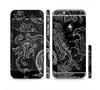 The Black with Thin White Paisley Pattern Sectioned Skin Series for the Apple iPhone 6/6s