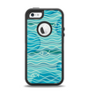 The Blue Abstarct Cells with Fish Water Illustration Apple iPhone 5-5s Otterbox Defender Case Skin Set
