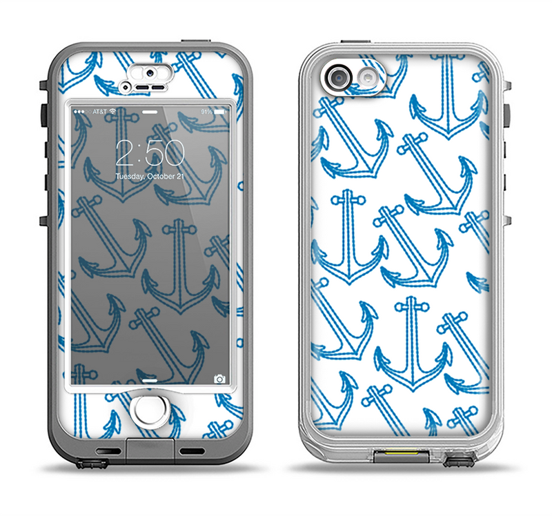 The Blue Anchor Stitched Pattern Apple iPhone 5-5s LifeProof Nuud Case Skin Set