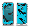 The Blue & Black High-Heel Pattern V12 Apple iPhone 5-5s LifeProof Fre Case Skin Set