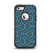 The Blue & Black Spirals Pattern Apple iPhone 5-5s Otterbox Defender Case Skin Set