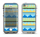The Blue & Gold Tribal Ethic Geometric Pattern Apple iPhone 5-5s LifeProof Nuud Case Skin Set