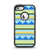 The Blue & Gold Tribal Ethic Geometric Pattern Apple iPhone 5-5s Otterbox Defender Case Skin Set