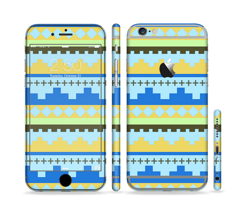 The Blue & Gold Tribal Ethic Geometric Pattern Sectioned Skin Series for the Apple iPhone 6/6s Plus