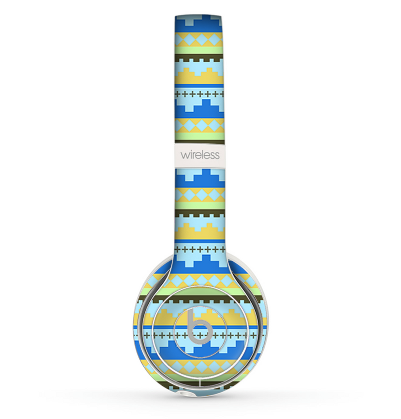 The Blue & Gold Tribal Ethic Geometric Pattern copy Skin Set for the Beats by Dre Solo 2 Wireless Headphones