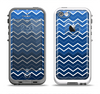 The Blue Gradient Layered Chevron Apple iPhone 5-5s LifeProof Fre Case Skin Set