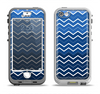 The Blue Gradient Layered Chevron Apple iPhone 5-5s LifeProof Nuud Case Skin Set