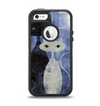 The Blue Grungy Textured Cat Apple iPhone 5-5s Otterbox Defender Case Skin Set