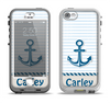 The Blue Highlighted Anchor with Rope Name Script Apple iPhone 5-5s LifeProof Nuud Case Skin Set