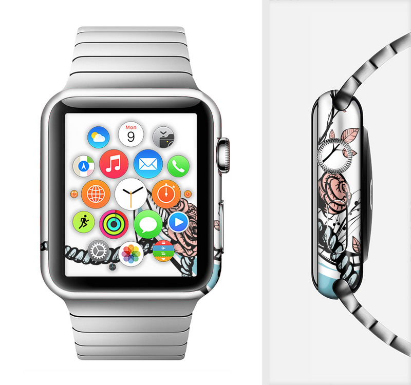 The Blue Pastel Anchor with Roses Full-Body Skin Set for the Apple Watch