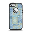 The Blue Patched Paisley Pattern Apple iPhone 5-5s Otterbox Defender Case Skin Set