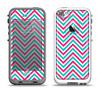 The Blue & Pink Sharp Chevron Pattern Apple iPhone 5-5s LifeProof Fre Case Skin Set