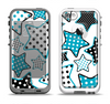 The Blue Polkadotted Vector Stars Apple iPhone 5-5s LifeProof Fre Case Skin Set