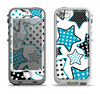 The Blue Polkadotted Vector Stars Apple iPhone 5-5s LifeProof Nuud Case Skin Set