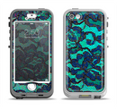 The Blue & Teal Lace Texture Apple iPhone 5-5s LifeProof Nuud Case Skin Set