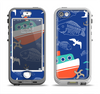 The Blue Vector Fish and Boat Pattern Apple iPhone 5-5s LifeProof Nuud Case Skin Set