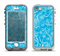 The Blue & White Abstract Swirly Pattern Apple iPhone 5-5s LifeProof Nuud Case Skin Set