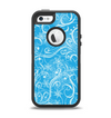 The Blue & White Abstract Swirly Pattern Apple iPhone 5-5s Otterbox Defender Case Skin Set