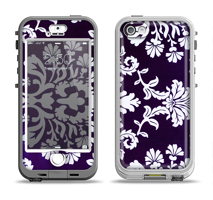The Blue & White Delicate Pattern Apple iPhone 5-5s LifeProof Nuud Case Skin Set