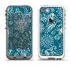 The Blue & White Floral Sketched Lace Patterns v21 Apple iPhone 5-5s LifeProof Fre Case Skin Set