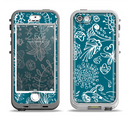 The Blue & White Floral Sketched Lace Patterns v21 Apple iPhone 5-5s LifeProof Nuud Case Skin Set