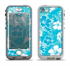 The Blue & White Hawaiian Floral Pattern V4 Apple iPhone 5-5s LifeProof Nuud Case Skin Set
