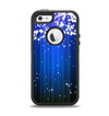 The Blue & White Rain Shimmer Strips Apple iPhone 5-5s Otterbox Defender Case Skin Set