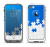 The Blue & White Scattered Puzzle Apple iPhone 5-5s LifeProof Fre Case Skin Set