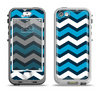The Blue Wide Chevron Pattern Apple iPhone 5-5s LifeProof Nuud Case Skin Set