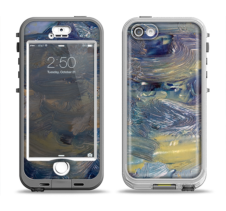 The Blue & Yellow Abstract Oil Painting Apple iPhone 5-5s LifeProof Nuud Case Skin Set