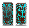 The Blue and Brown Elegant Lace Pattern Apple iPhone 5-5s LifeProof Fre Case Skin Set