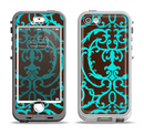 The Blue and Brown Elegant Lace Pattern Apple iPhone 5-5s LifeProof Nuud Case Skin Set