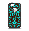 The Blue and Brown Elegant Lace Pattern Apple iPhone 5-5s Otterbox Defender Case Skin Set