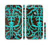 The Blue and Brown Elegant Lace Pattern Sectioned Skin Series for the Apple iPhone 6/6s Plus