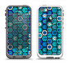 The Blue and Green Vibrant Hexagons Apple iPhone 5-5s LifeProof Fre Case Skin Set