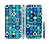 The Blue and Green Vibrant Hexagons Sectioned Skin Series for the Apple iPhone 6/6s Plus