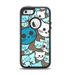 The Blue and Pink Vector Faced Cats Apple iPhone 5-5s Otterbox Defender Case Skin Set