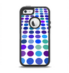 The Blue and Purple Strayed Polkadots Apple iPhone 5-5s Otterbox Defender Case Skin Set