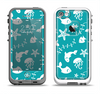 The Blue and White Cartoon Sea Creatures Apple iPhone 5-5s LifeProof Fre Case Skin Set