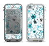 The Blue and White Floral Laced Pattern Apple iPhone 5-5s LifeProof Nuud Case Skin Set
