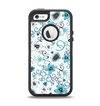 The Blue and White Floral Laced Pattern Apple iPhone 5-5s Otterbox Defender Case Skin Set
