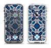 The Blue and White Mosaic Mirrored Pattern Apple iPhone 5-5s LifeProof Fre Case Skin Set