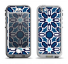 The Blue and White Mosaic Mirrored Pattern Apple iPhone 5-5s LifeProof Nuud Case Skin Set